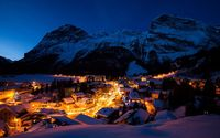 Night lights in the snowy mountain town wallpaper 1920x1200 jpg