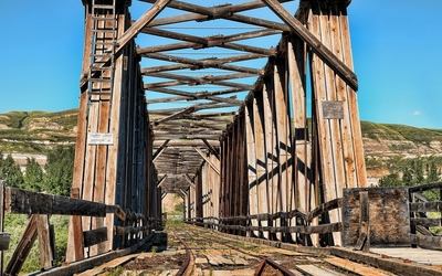Old railway on a wooden bridge wallpaper