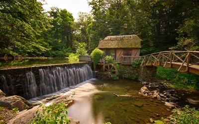 Old watermill by the forest river Wallpaper