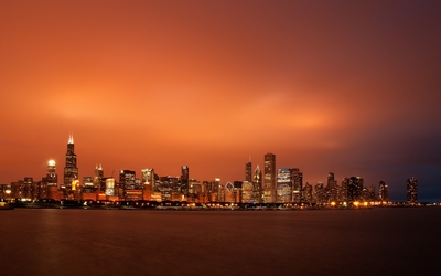 Orange sky above Chicago wallpaper