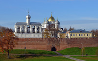 Orthodox church surrounded by an old brick wall wallpaper 3840x2160 jpg