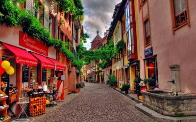 Pavement street in Freiburg im Breisgau wallpaper