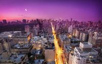 Purple sky above New York City at sunset wallpaper 1920x1200 jpg