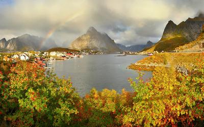 Rainbow above the lake wallpaper
