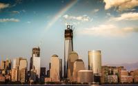 Rainbow over downtown New York wallpaper 1920x1200 jpg