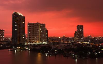 Red sunset over Bangkok - Thailand Wallpaper