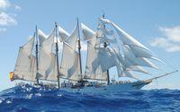 Sailing ship on the wavy sea wallpaper 1920x1200 jpg