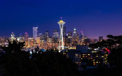 Seattle at dusk wallpaper