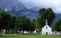 Small church in a mountain town wallpaper 2560x1600 jpg