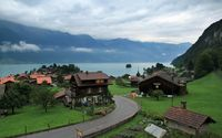 Small town by Lake Brienz wallpaper 1920x1200 jpg