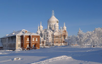 Snowy brick church wallpaper 2880x1800 jpg
