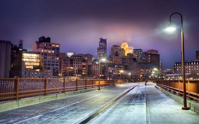 Snowy bridge in Minnesota wallpaper