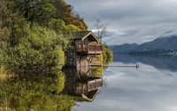 Stone house reflecting in the lake wallpaper 1920x1200 jpg