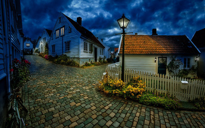 Street in small Norwegian town wallpaper