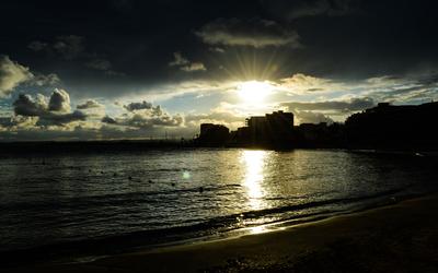 Sunset on El Cura beach wallpaper