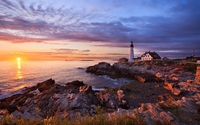 Sunset over the lighthouse [2] wallpaper 1920x1200 jpg