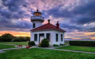 Sunset over the lighthouse wallpaper