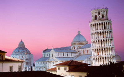 The Leaning Tower of Pisa and the Pisa Cathedral wallpaper