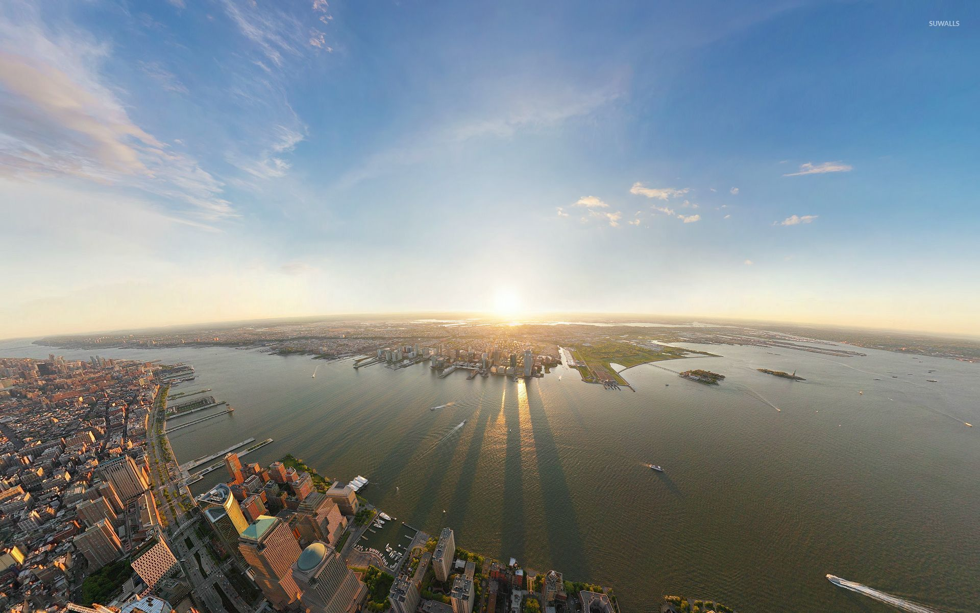 Top View Of New York City At Sunrise Wallpaper World