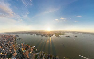 Top view of New York City at sunrise wallpaper