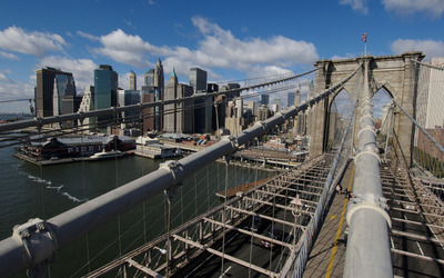 Top view of the Brooklyn Bridge wallpaper