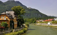Town on the river side wallpaper 3840x2160 jpg