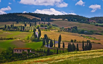 Tuscany valley wallpaper