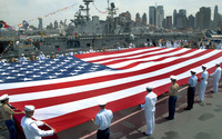 USA flag in Intrepid Sea, Air & Space Museum wallpaper 1920x1200 jpg