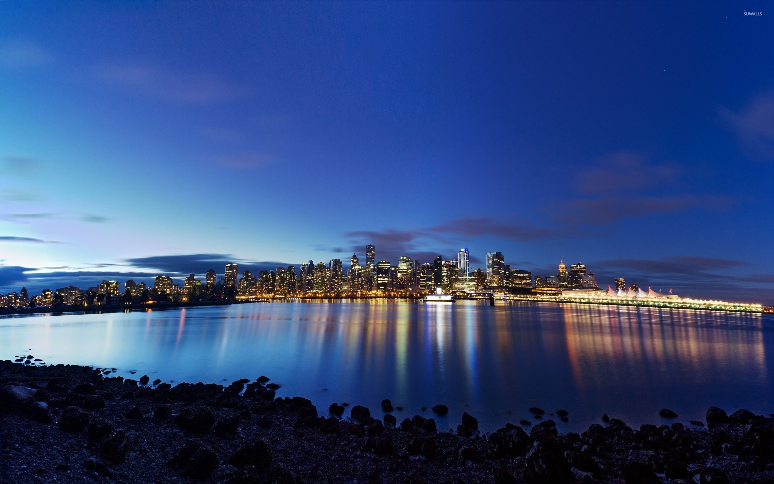 Vancouver Lights Reflected In The Water Wallpaper