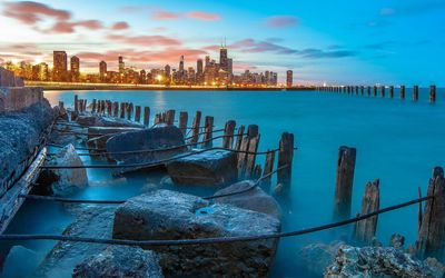 View of Chicago from Lake Shore Drive wallpaper