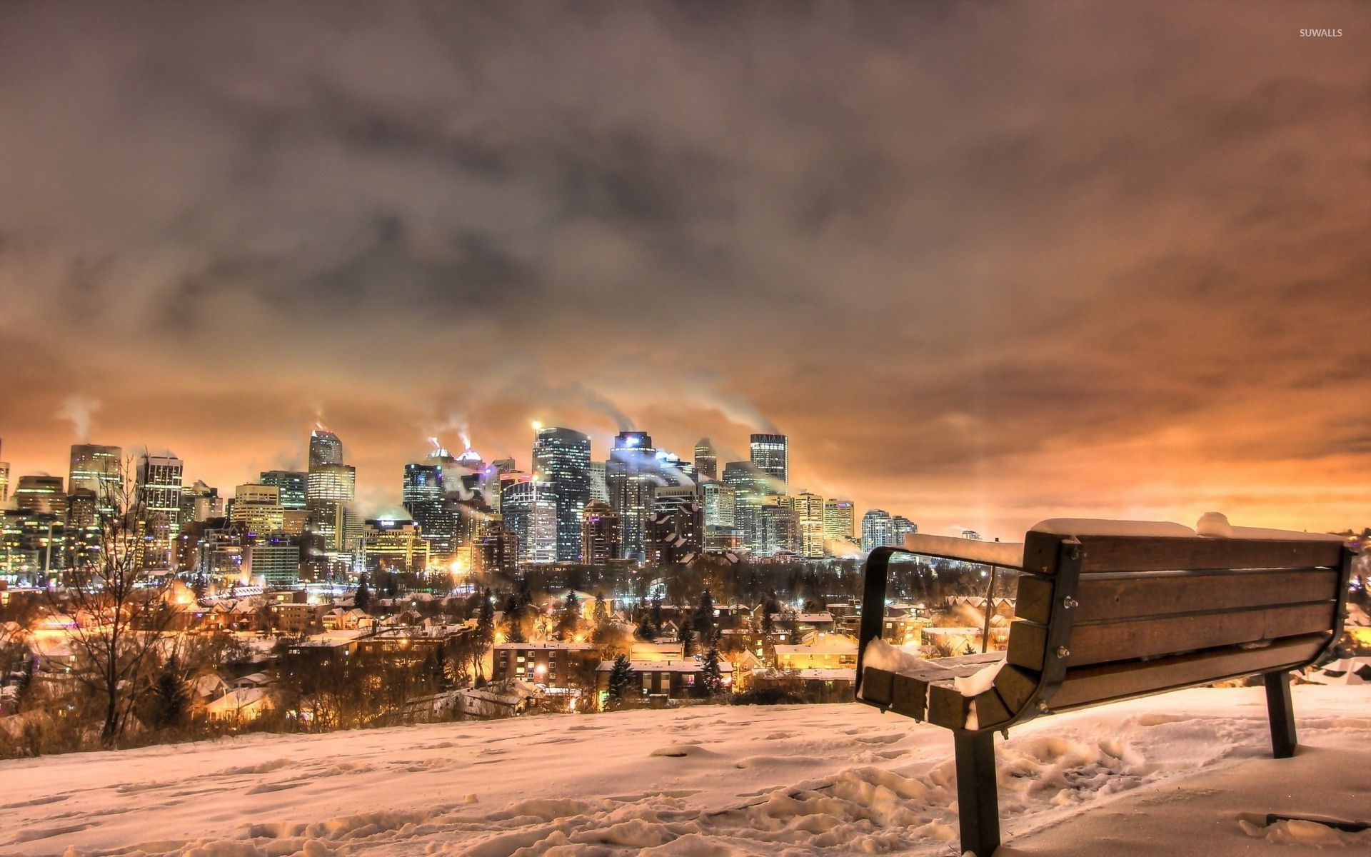 View Of The City From A Bench On The Hill Wallpaper World