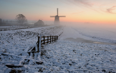 Windmill in the winter wallpaper