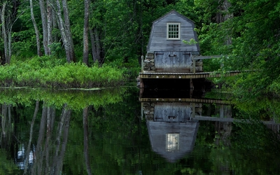 Wooden boat garage on the lake wallpaper
