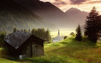 Wooden cabin in the sunrise wallpaper 1920x1200 jpg