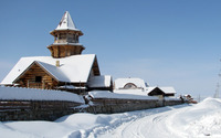 Wooden church covered in snow wallpaper 1920x1200 jpg