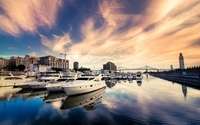 Yachts in a harbor at sunset wallpaper 1920x1200 jpg